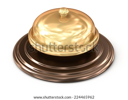 Golden bell over white - stock photo