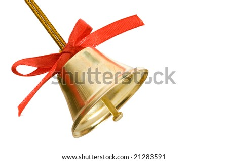golden bell with red bow isolated on white - stock photo