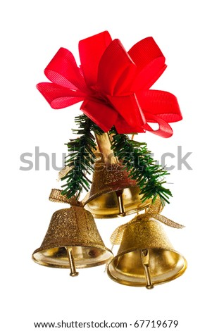 Golden bells with christmas decoration isolated on white - stock photo