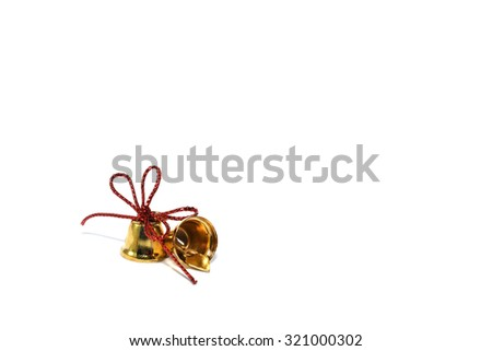 Golden bells with red ribbon isolated