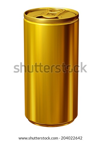 golden beverage can - stock photo