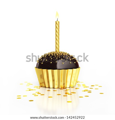 golden birthday chocolate cupcake with candle and confetti isolated on white