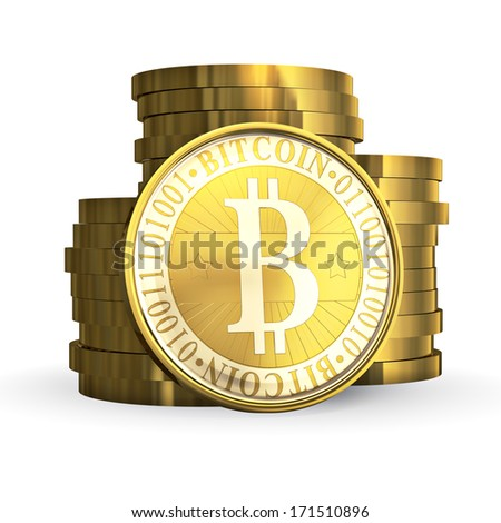 Golden Bitcoin - 3d illustration, isolated on white background - stock photo