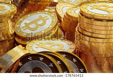 Golden Bitcoins - stock photo