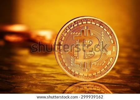 Golden Bitcoins .Photo (new virtual money ) - stock photo