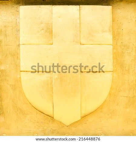 Golden Blazon of Marseille, coat of arms, with cross, France - stock photo