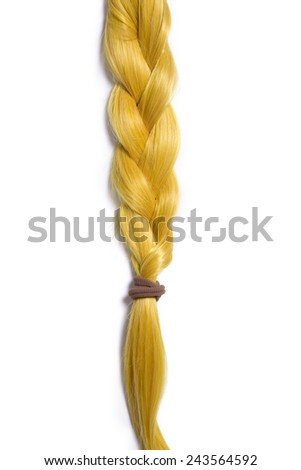 Golden blond hair braided in pigtail, isolated on white background  - stock photo