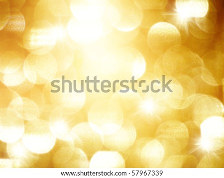 golden blurry lights - stock photo