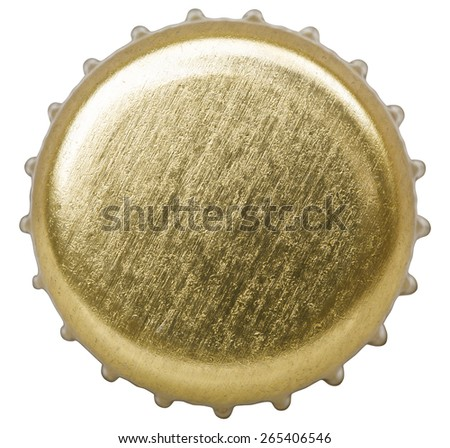 golden bottle cap isolated on white background with clipping path included - stock photo