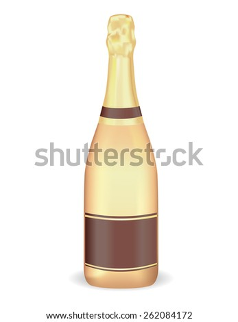 Golden bottle of champagne with blank label isolated on white background. Raster version - stock photo