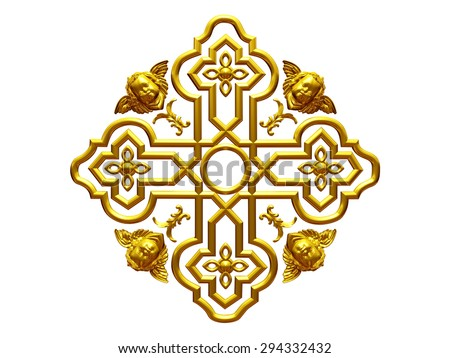 golden Bottony cross - stock photo