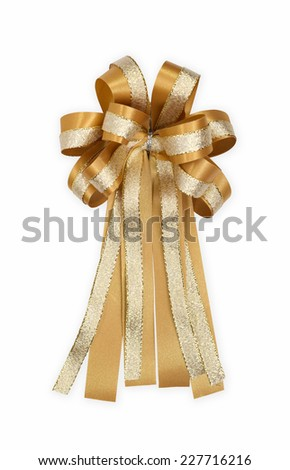 Golden bow with golden ribbon isolate on white background