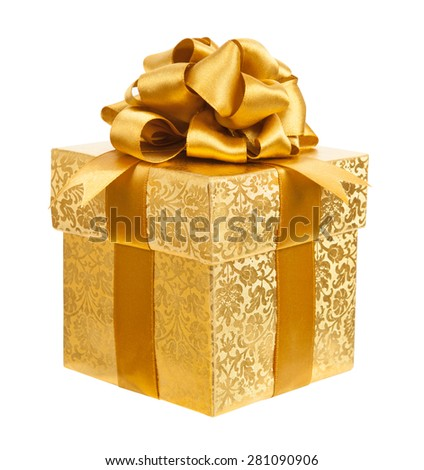 Golden box isolated on a white background - stock photo