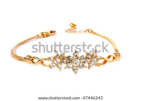 golden bracelet - stock photo