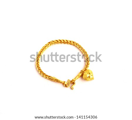 Golden bracelet with heart shape the image isolated on white - stock photo