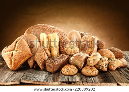 golden bread and wall  - stock photo