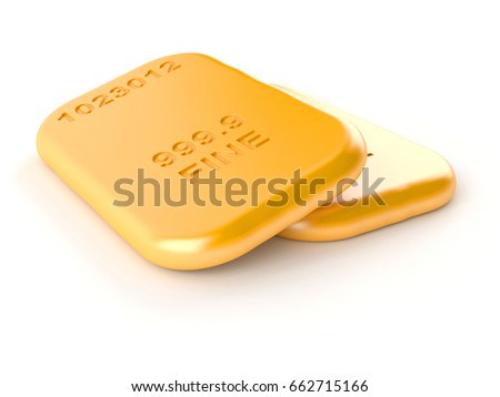 Golden bricks isolated on white background. 3d illustration