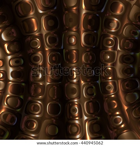 Golden brown circle square design background