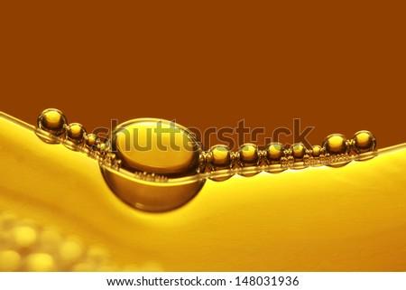 Golden bubbles abstract light illumination. - stock photo