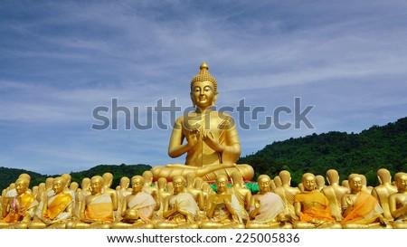 Golden Buddha at Buddha Memorial park - stock photo