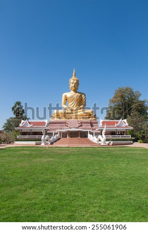 golden Buddha .Big Buddha statue in the public temple. - stock photo