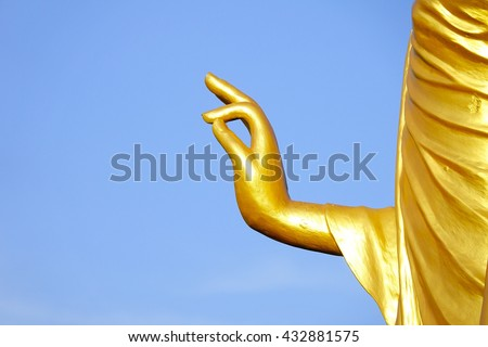 Golden Buddha Hand Stucco On Blue Stock Photo 100 Legal Protection
