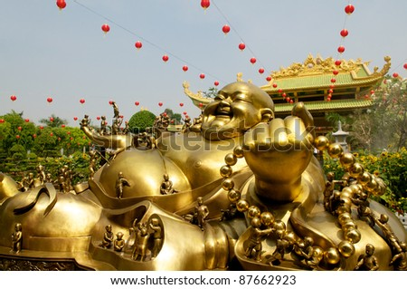 Golden Buddha in Da Nam Temple in Vietnam