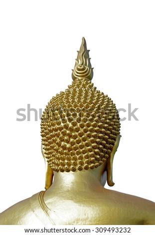 Golden Buddha isolated on white background - stock photo