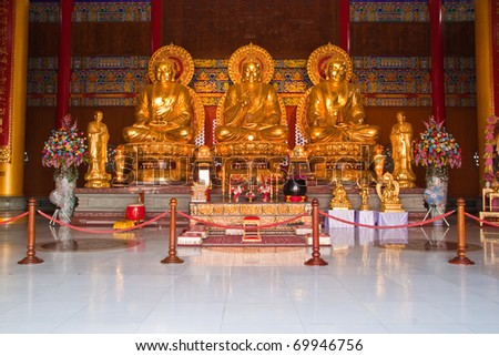Golden Buddha Statue in chinese temple, Thailand