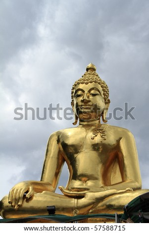 Golden Buddha statue in northern Thailand