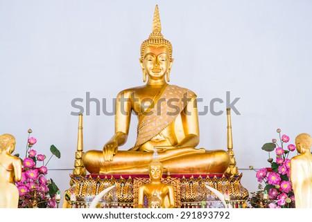 Golden Buddha Statue or Luang Phor Sri Sawan at Nakhonsawan Province, Thailand. - stock photo