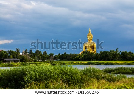 Golden Buddha statue Thailand - stock photo