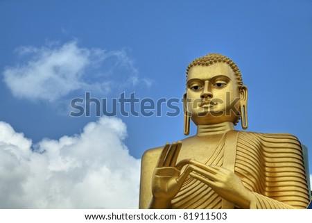 Golden Buddha Statue. UNESCO World Heritage Centre in Sri Lanka. For more images of SRI Lanka visit http://www.shutterstock.com/sets/65127-sri-lanka.html?rid=714394 - stock photo
