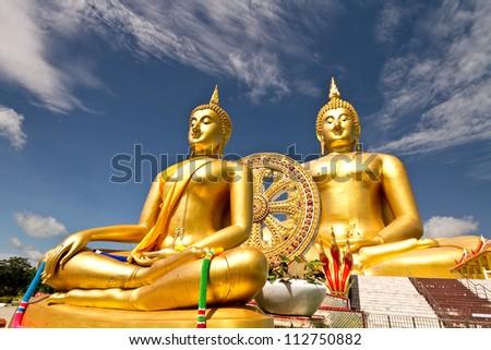 golden Buddha wat muang Thailand - stock photo