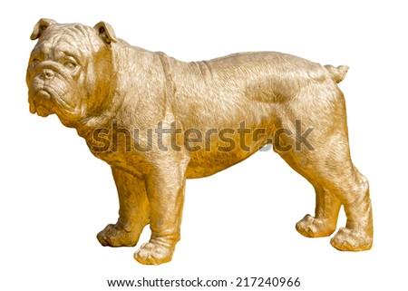 Golden bulldog statue on white background - stock photo