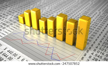 Golden Business Charts. 3D Illustration of Yellow Graph Bars - stock photo