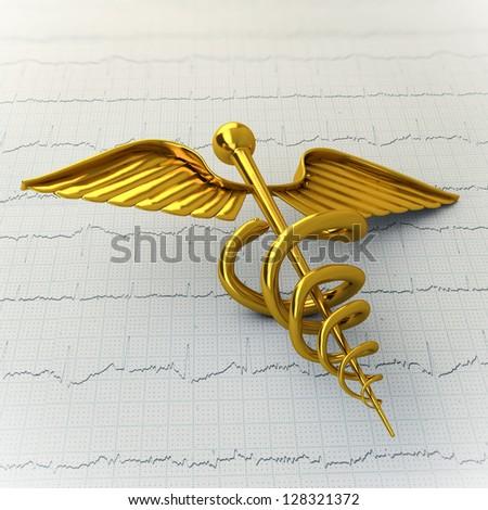 Golden Caduceus on Ecg - Ekg Paper - Medical Concept Illustration - stock photo