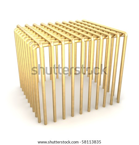 Golden cage. 3d rendered illustration. - stock photo