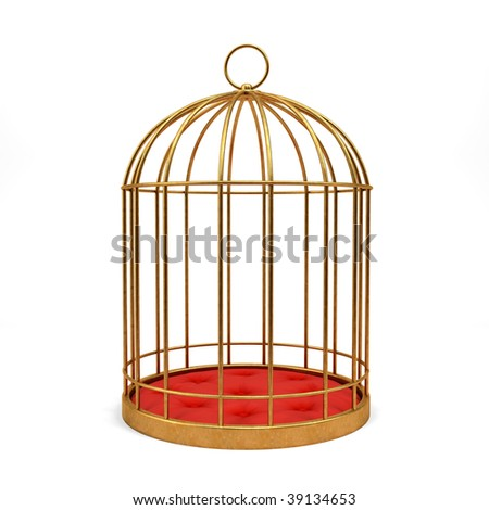 Golden cage isolated on white background 3D rendering - stock photo