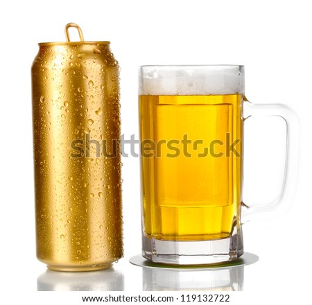 Golden can and beer glass isolated on white - stock photo