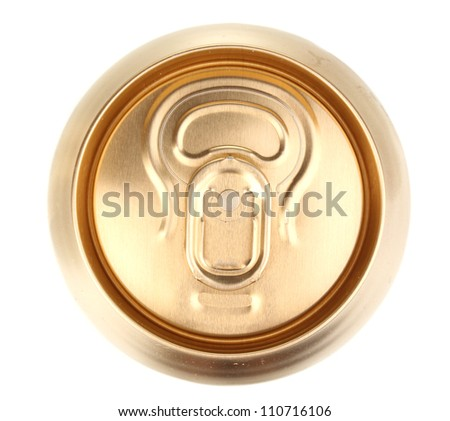golden can isolated on white - stock photo