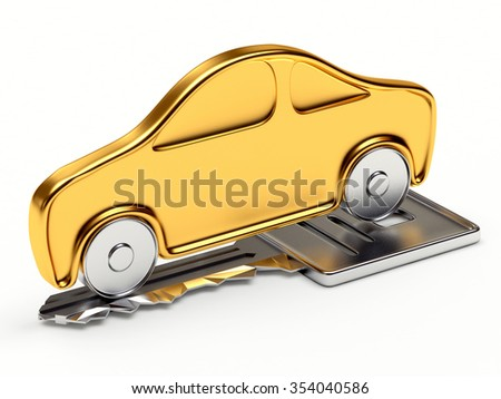 Golden car on the silver key isolated on white background - stock photo