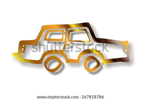 golden car silhouette - stock photo