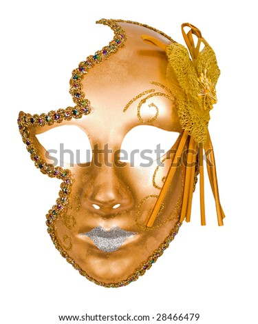 golden carnival venetian mask isolated over white with clipping path