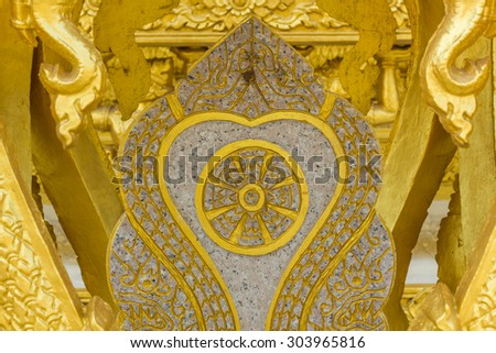 golden carve texture of buddhism religion in temple of thailand