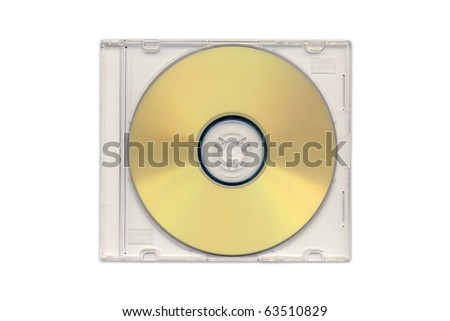 Golden CD in clear plastic case isolated. - stock photo