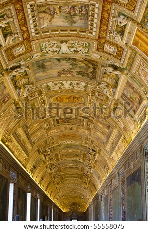 Golden ceiling inside the vatican in Rome - stock photo