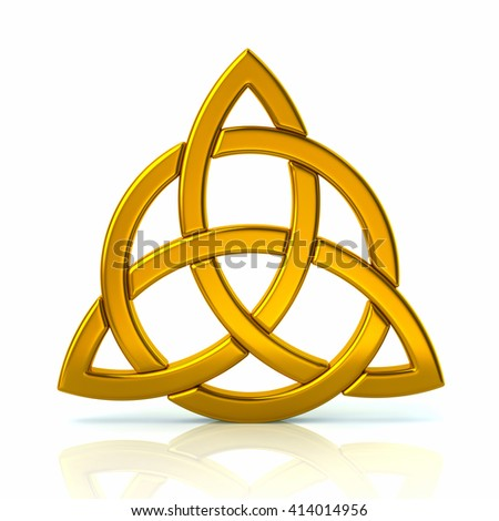 Golden celtic trinity knot isolated on white background - stock photo