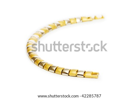 Golden chain isolated on the white background - stock photo