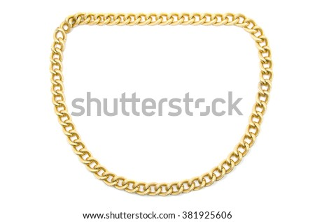 Golden chain. Isolated on white. - stock photo